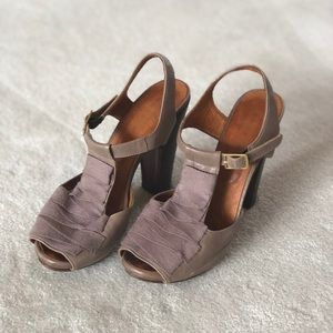 Chie Mihara open toe sandals with wooden heel